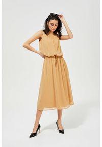 MOODO - Elegancka sukienka w stylu boho. Materiał: poliester, guma. Wzór: gładki, nadruk. Styl: boho, elegancki