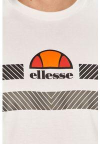 Biały t-shirt Ellesse casualowy, z nadrukiem