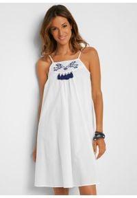 Długi shirt plażowy bonprix biały. Okazja: na plażę. Kolor: biały. Długość: długie