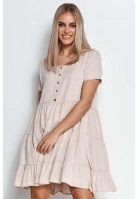 Makadamia - Zwiewna Sukienka z Drewnianymi Guzikami - Beżowa. Kolor: beżowy. Materiał: wiskoza
