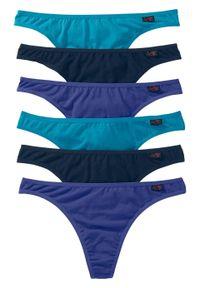 Stringi (6 par) bonprix szafirowy+ciemnoturkusowy+ciemnoniebieski. Kolor: niebieski. Wzór: kolorowy