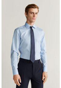 Niebieska koszula Mango Man elegancka, z włoskim kołnierzykiem, długa