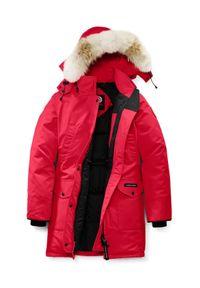 CANADA GOOSE - Czerwona parka Trillium. Okazja: na co dzień. Kolor: czerwony. Materiał: futro. Długość: długie. Wzór: aplikacja. Sezon: zima. Styl: klasyczny, casual