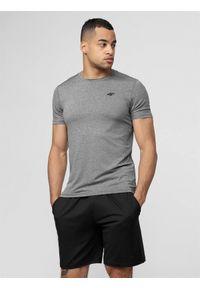 4f - Koszulka treningowa męska. Kolor: szary. Materiał: włókno, dzianina. Sport: fitness