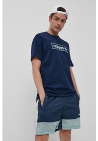 Niebieski t-shirt adidas Originals casualowy, na co dzień