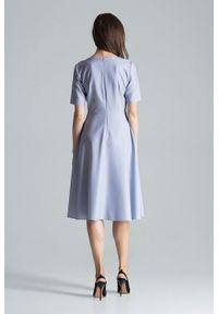 Figl - Rozkloszowana sukienka midi z dekoltem V szara. Okazja: do pracy, na imprezę. Kolor: szary. Długość: midi