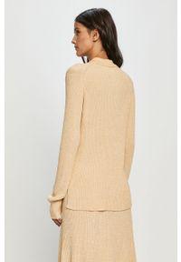 Żółty sweter Samsoe & Samsoe krótki, z długim rękawem, casualowy