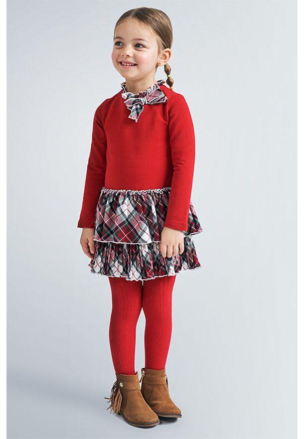 Czerwona sukienka Mayoral z długim rękawem, rozkloszowana