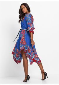Niebieska sukienka bonprix z nadrukiem, boho
