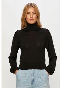 Czarny sweter only z golfem, z długim rękawem, długi