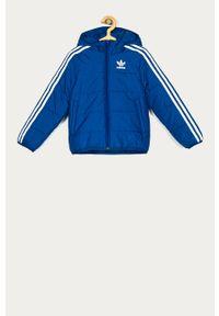 Niebieska kurtka adidas Originals z kapturem, casualowa