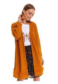 Żółty sweter TOP SECRET długi, na jesień, z długim rękawem