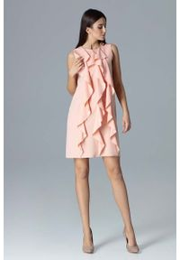 Różowa sukienka Figl trapezowa, wizytowa, z falbankami