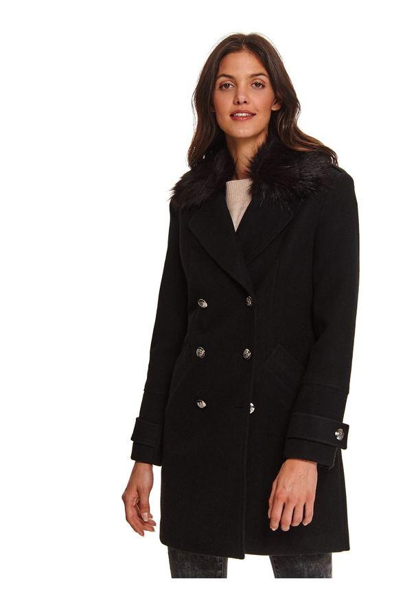 TOP SECRET - Dwurzędowy płaszcz z odpinanym futerkiem. Kolor: czarny. Materiał: futro. Wzór: moro. Sezon: zima. Styl: militarny, elegancki