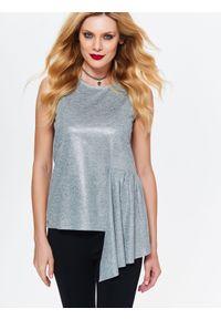 Srebrna bluzka TOP SECRET z krótkim rękawem, w kolorowe wzory, na zimę, elegancka