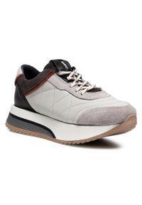 Bronx - Sneakersy BRONX - 66361-AC Ice Grey/Rust/Asphalt 3414. Okazja: na spacer. Kolor: szary. Materiał: skóra, zamsz. Sezon: lato. Obcas: na koturnie. Wysokość obcasa: średni