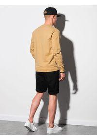 Ombre Clothing - Bluza męska bez kaptura B1153 - żółta - XXL. Typ kołnierza: bez kaptura. Kolor: żółty. Materiał: bawełna, jeans, poliester. Styl: klasyczny, elegancki