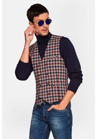 Lancerto - Kamizelka w Kratę Teide. Typ kołnierza: golf. Materiał: jeans, wiskoza, materiał, elastan, tkanina, poliester. Wzór: kolorowy