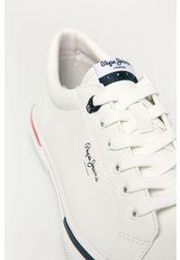 Białe sneakersy Pepe Jeans z cholewką, z okrągłym noskiem