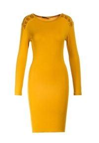 Born2be - Żółta Sukienka Vivithia. Kolor: żółty