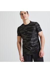 Koszulka do fitnessu DOMYOS krótka, w ażurowe wzory, z krótkim rękawem