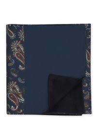 Adam Collection - Granatowy szal do płaszcza we wzór - paisley L6. Kolor: niebieski. Materiał: tkanina, wiskoza. Wzór: paisley