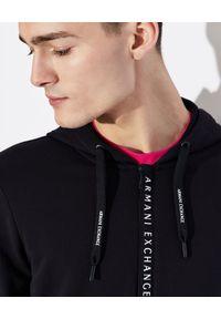 Armani Exchange - ARMANI EXCHANGE - Bawełniana bluza z kapturem. Okazja: na co dzień. Typ kołnierza: kaptur. Kolor: biały. Materiał: bawełna. Styl: casual, klasyczny, elegancki