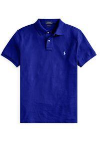 Niebieskie polo z krótkim rękawem Ralph Lauren klasyczne, z haftami, polo