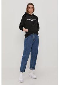 Czarna bluza Prosto. z nadrukiem, długa, z długim rękawem