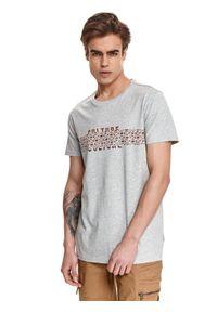 Szary t-shirt TOP SECRET z nadrukiem