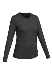 FORCLAZ - Koszulka turystyczna damska z długim rękawem Forclaz TRAVEL 100 merino. Materiał: wełna, materiał, akryl. Długość rękawa: długi rękaw. Długość: długie