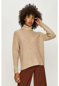 Beżowy sweter only z długim rękawem, długi, z golfem