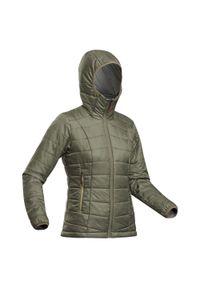 FORCLAZ - Kurtka trekkingowa - Trek 100 kaptur -5°C - damska. Kolor: zielony, brązowy, wielokolorowy. Materiał: poliester, materiał, poliamid