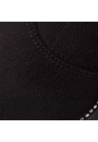 Czarne kozaki R.Polański na obcasie, z aplikacjami, na średnim obcasie