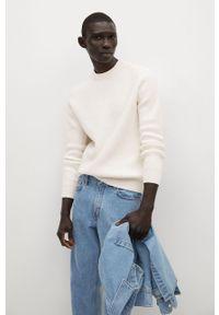 Biały sweter Mango Man długi, casualowy, na co dzień, z długim rękawem