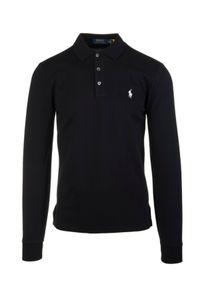 Ralph Lauren - RALPH LAUREN - Czarna bluza z kultowym logo. Typ kołnierza: polo. Kolor: czarny. Materiał: bawełna. Długość rękawa: długi rękaw. Długość: długie. Wzór: haft