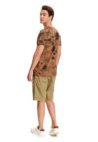 Beżowy t-shirt TOP SECRET z okrągłym kołnierzem, klasyczny, z nadrukiem