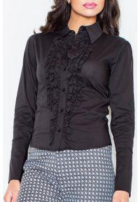 Czarna koszula Figl z falbankami