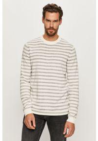 Biały sweter Jack & Jones z długim rękawem, z okrągłym kołnierzem, długi