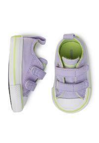 Fioletowe półbuty Converse na spacer, z cholewką, na rzepy