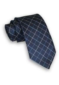 Alties - Ciemny Granatowy Klasyczny Męski Krawat -ALTIES- 7cm, Szeroki, w Biało-Niebieską Grubą Kratę, Karo. Kolor: niebieski. Materiał: tkanina. Styl: klasyczny