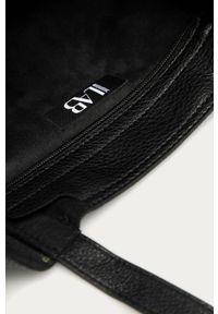 Czarna shopperka Answear Lab gładkie, na ramię, wakacyjna, skórzana