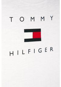 Biały t-shirt TOMMY HILFIGER z nadrukiem, casualowy
