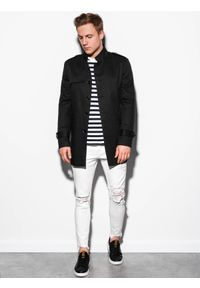 Czarny płaszcz Ombre Clothing ze stójką, na wiosnę, elegancki #7