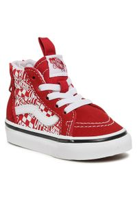 Vans - Sneakersy VANS - Sk8-Hi Zip VN0A4BV13VB1 (Offthewall) Chippprrcngrd. Kolor: czerwony. Materiał: zamsz, materiał, skóra. Szerokość cholewki: normalna