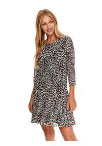 TOP SECRET - Sukienka mini w zwierzęcy print z falbankami. Typ kołnierza: kołnierz z falbankami. Kolor: beżowy. Wzór: motyw zwierzęcy, nadruk. Typ sukienki: koszulowe. Długość: mini