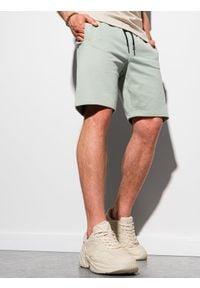 Ombre Clothing - Krótkie spodenki męskie dresowe W291 - miętowe - XXL. Kolor: miętowy. Materiał: dresówka. Długość: krótkie. Styl: klasyczny