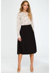 e-margeritka - Elegancka rozkloszowana spódnica midi czarna - s. Okazja: do pracy, na spotkanie biznesowe. Kolor: czarny. Materiał: poliester, elastan, wiskoza, materiał. Długość: do kostek. Wzór: gładki. Styl: elegancki