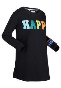 Czarna bluza bonprix z długim rękawem, długa, z nadrukiem