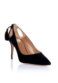 AQUAZZURA - Czarne zamszowe szpilki Forever Marilyn. Kolor: czarny. Materiał: zamsz. Obcas: na szpilce. Styl: wizytowy. Wysokość obcasa: średni
